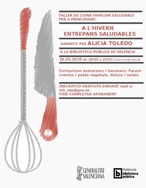 Taller Cocina Saludable Familiar Biblioteca Valencia