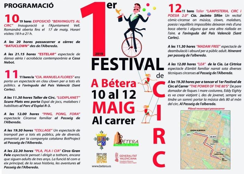 Festival Circo Calle Betera 2019 Programa