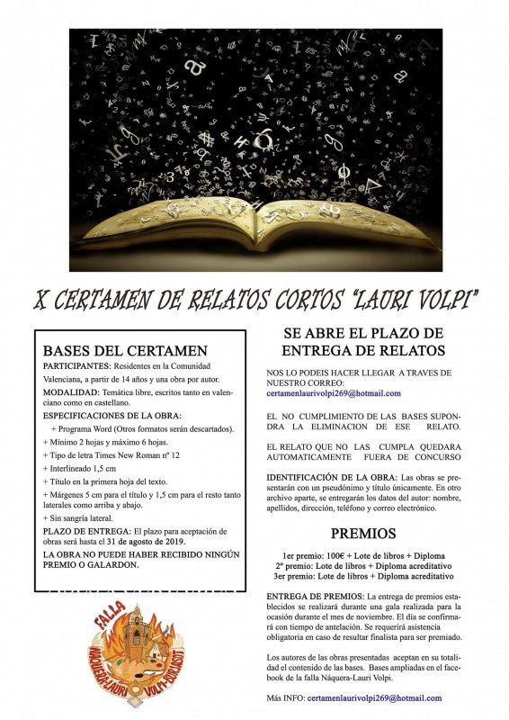 Certamen Relatos Cortos Falla Burjassot 2019