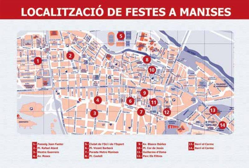 Fiestas Patronales Manises 2019 Mapa