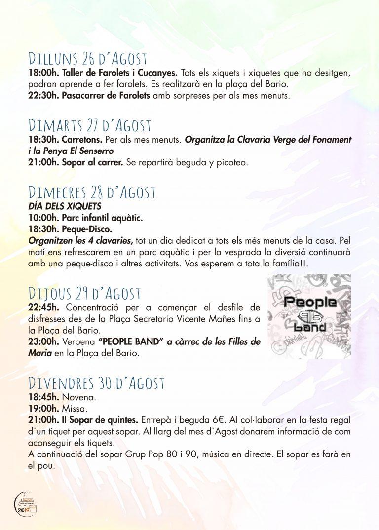 Fiestas Patronales Benissano 2019 Programacion 1