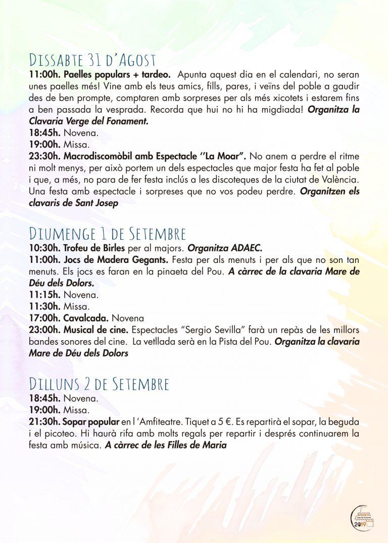 Fiestas Patronales Benissano 2019 Programacion 2
