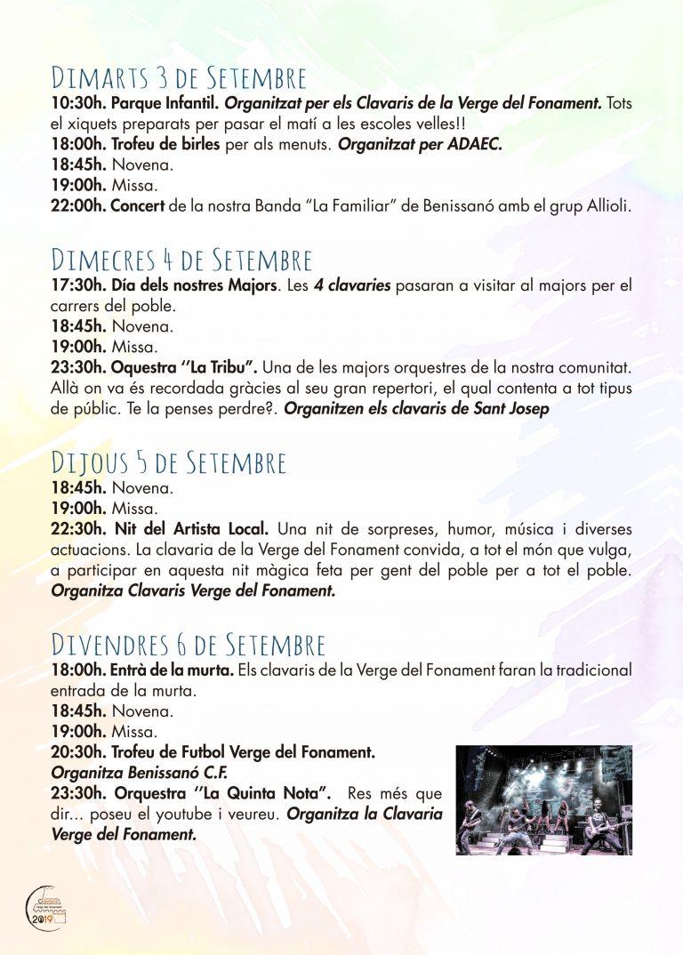 Fiestas Patronales Benissano 2019 Programacion 3