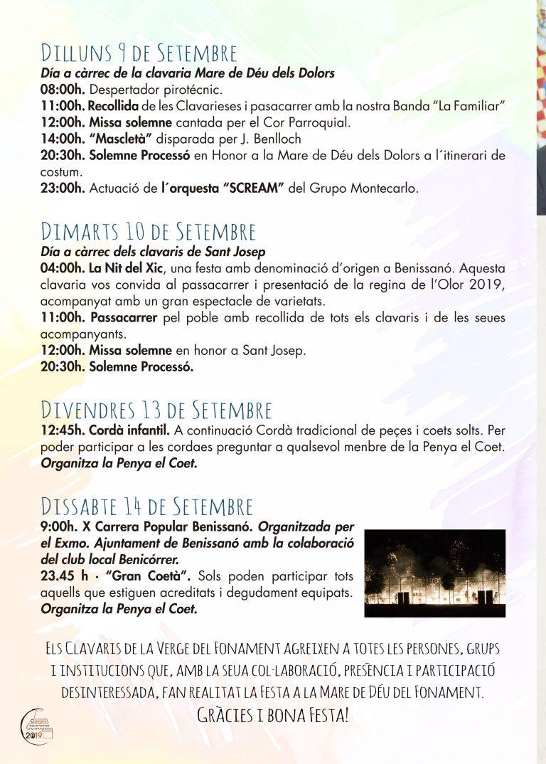 Fiestas Patronales Benissano 2019 Programacion 5