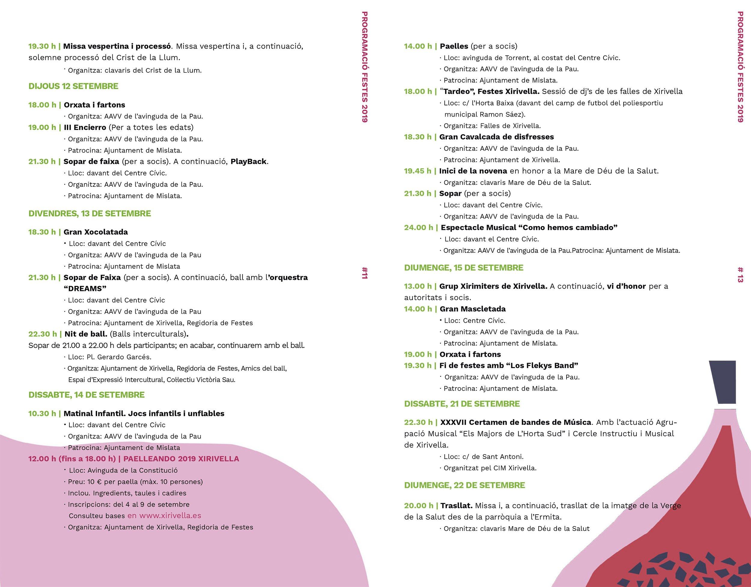 Fiestas Xirivella 2019 Programacion 4