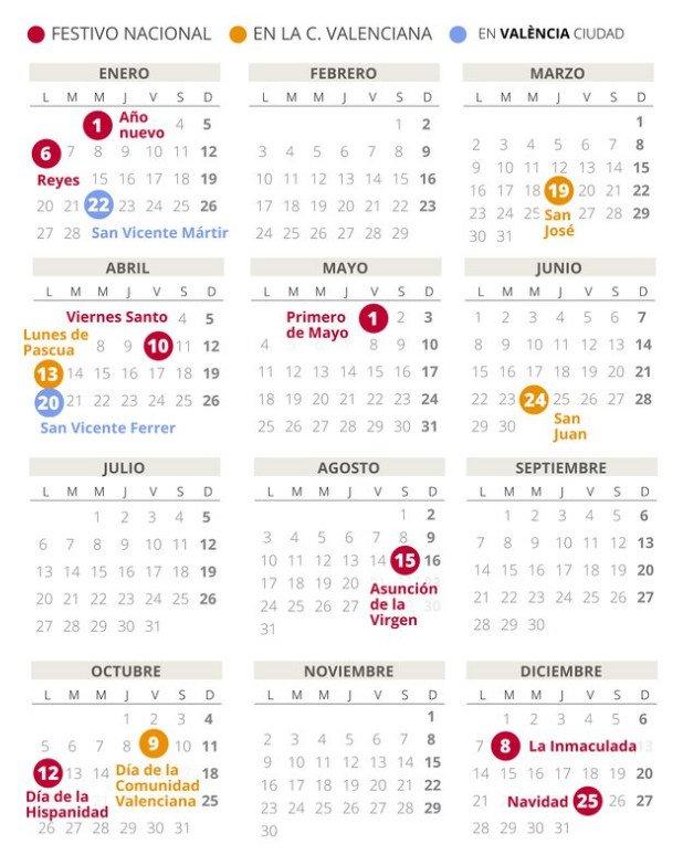 Calendario Laboral 2020 Valencia