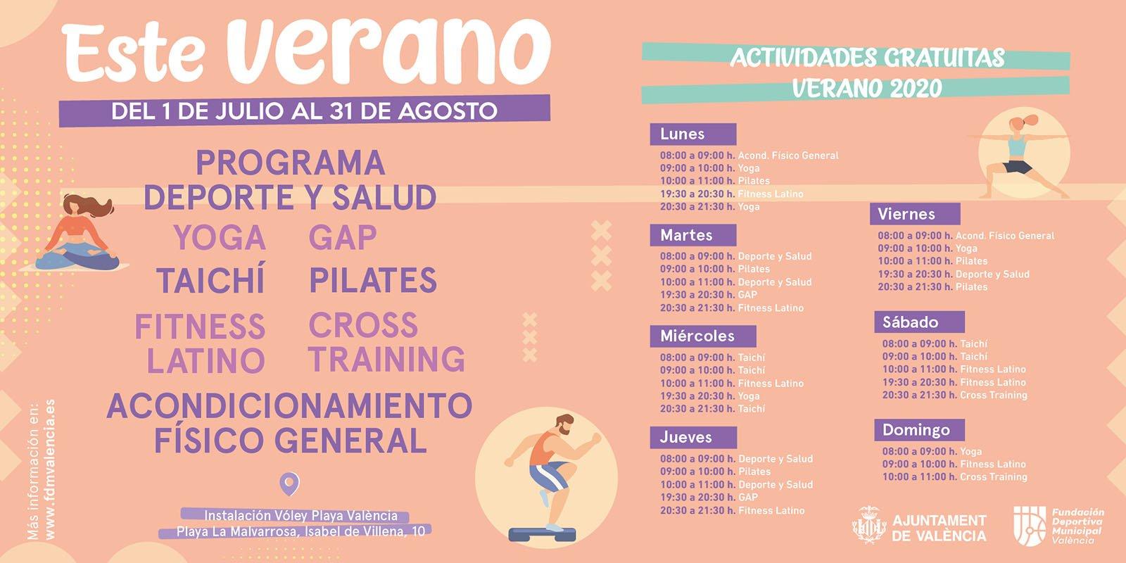 Actividades Deportivas Verano Playa Valencia Horarios 2020b